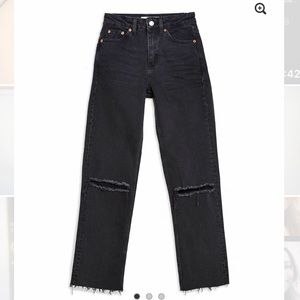 Topshop Black Ripped Straight Jeans (34x30)
